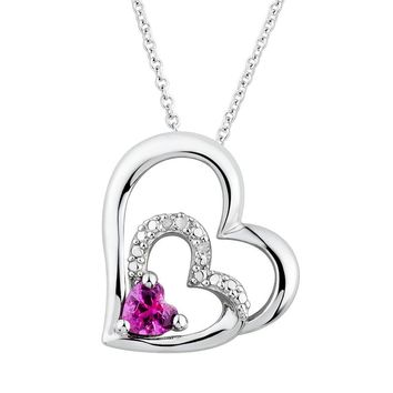 Two Hearts Forever One Lab-Created Pink Sapphire & Diamond Accent Sterling Silver Heart Pendant Necklace