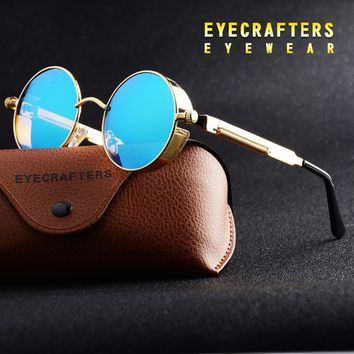 *Gold Round Polarized Sunglasses Gothic Steampunk Sunglasses Mens Womens Fashion Retro Vintage Shield Glasses Eyewear Blue