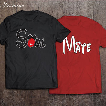 Mickey and Minnie - Soul and Mate - best couples shirts - unisex t-shirt - gift for her and for him - couples apparels