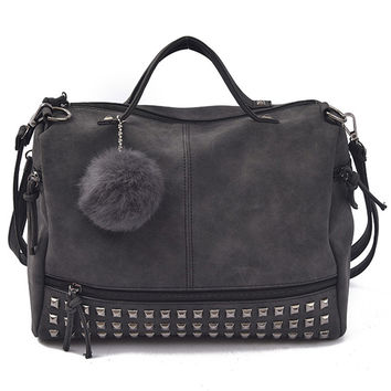 Rivet Women Shoulder Bag With Fur Ball