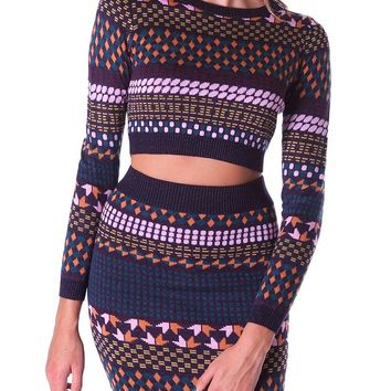 Fashionably Cozy Knit Crop Top - Purple