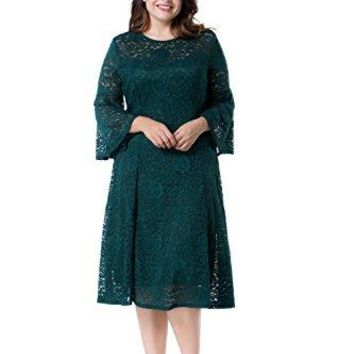 Women's Plus Size Floral Lace With Bell Sleeves Midi A-Line Evening Dress