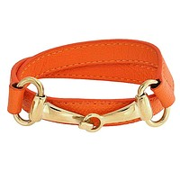 Leather Horse Bit Equestrian Wrap Bracelet Gold Plated Stainless Steel