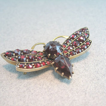 Bohemian Garnet Brooch Antique 1880s Victorian Jewelry Insect Moth Butterfly Figural Pearl Eyes Mother's Day Gift