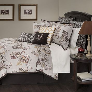 Marquis by Waterford Jalise Paisley 4-pc. Comforter Set - Queen (Beige/Khaki)