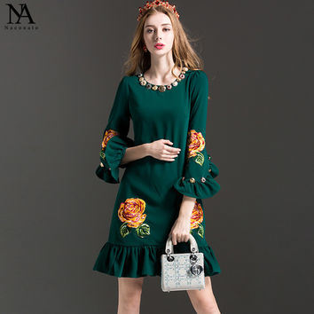 Luxury New Arrival 2017 Women's O Neck Beaded 3/4 Sleeves Ruffles Embroidery Elegant Runway Dresses