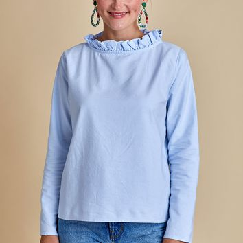 Fate Pleated Ruffle Neck Top