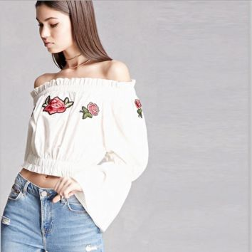 Fashion Embroidery Flower Off Shoulder Long Sleeve Pagoda Sleeve Women Crop Tops