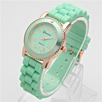 HauteChicWebstore GENEVA Jelly Block Fashion Watch Green - www.shophcw.com