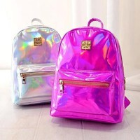 SANYI bk Holographic Backpack Women School Backpacks For Teenage Girls Fashion Travel Rucksack Small PU Leather Backpack