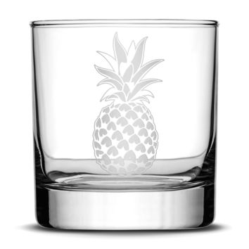 Whiskey Glass with Pineapple Design, Deep Etched