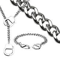 Spikes 316L Steel Chain Hand-Cuff Necklace and Bracelet Set