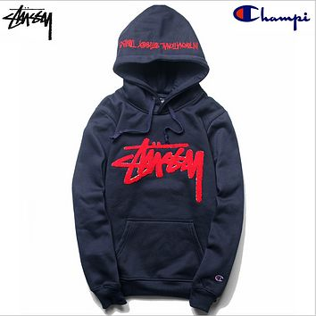 Stussy Studious tide champion champion plus cashmere sweater joint embroidered hooded hedging long-sleeved jacket Dark blue