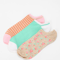 Waffle Floral No-Show Sock -Pack of 3
