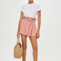 Linen Button Paper Bag Shorts