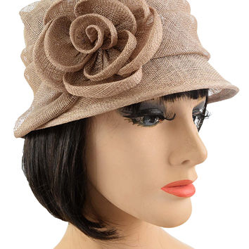 Mocha Sinamay Rose Accent Cloche Hat