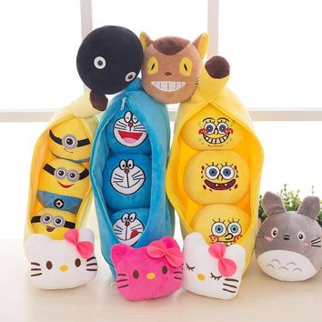 icottbaby 25'30cm 4 Style Little Peas Stuffed Plush Toys Doraemon Minions SpongeBob Totoro 3 Peas In A Pod Pea Soft Decorations