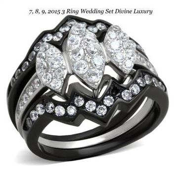 Tophatter : 6,7,8,9,10 New Item!! Black Rhodium 3 Ring Wedding Set