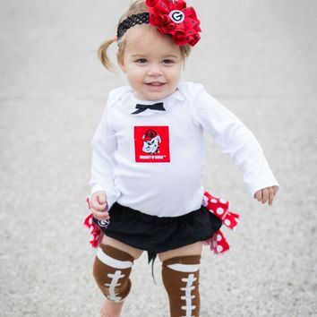 Girls Georgia Bulldogs Cheerleader Outfit, Baby Girls Coming Home Outfit, College Football