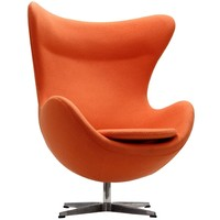 Glove Wool Lounge Chair in Orange