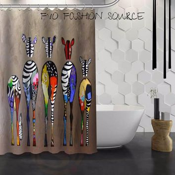 Pretty Colorful Zebra Scenes Waterproof Fabric Shower Curtains
