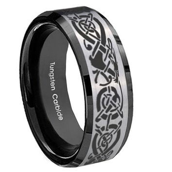 8mm Celtic Knot Dragon Beveled Brush Black 2 Tone Tungsten Mens Promise Ring