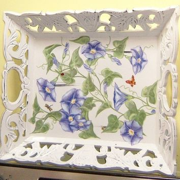 Ornate morning glories wood serving tray by MoanasUniqueDesigns
