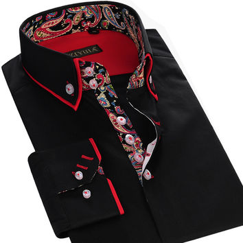 Autumn New Mens Dress Shirts Double Collar Printed Patchwork Slim Fit 100% Cotton High Quality Men Casual Business Shirt