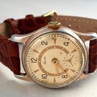 Vintage men's wristwatch ZIM-Pobeda. Vintage watch with lovely dial. Brand new leather band! Great gift for him!