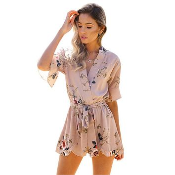 Summer Bohemian Floral Print Ruffles Playsuits Casual V-Neck Jumpsuits Beach Girls Sashes Rompers