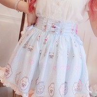 Princess sweet lolita skirt BOBON21 Bow tie lace chiffon skirt B1496
