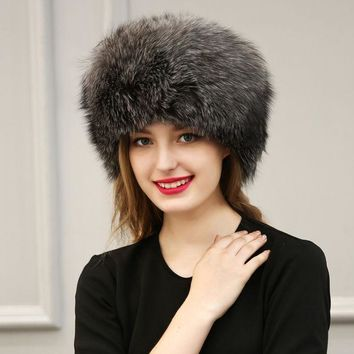 Winter Faux Fox Fur Pu Leather Hat Cap Women White Warm Soft Solid Color Hat Ear Protection Patchwork  Pompoms Thick Hats
