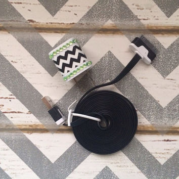 New Super Cute Jeweled Lime Green & White Chevron Designed Wall iphone 4/4g/4s Charger + 6ft Flat Black Cable Cord