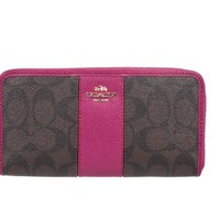 Coach 52859 Signature PVC Leather Accordion Zip Around Wallet in Brown & Pink Ruby
