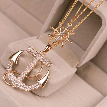 *FREE* New Crystal Rhinestone Anchor Pendant - Long Chain Sweater Necklace