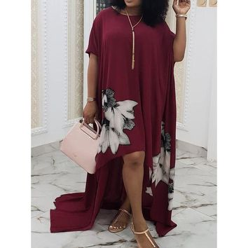 Floral Print  Loose Simple Casual Party Dress