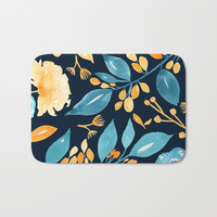 Teal and Golden Floral Bath Mat by noondaydesign