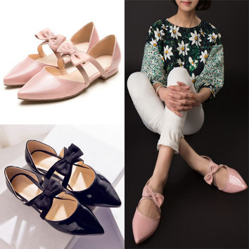 Korean Butterfly Flat Pointed Toe Shoes [4920473796]