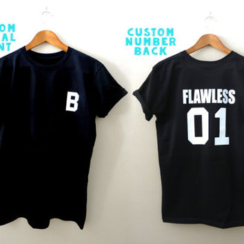 Flawless Shirt - Custom Jersey Number Initial T Shirt - Flawless T-Shirt - Custom Shirt - Custom Jersey Shirt