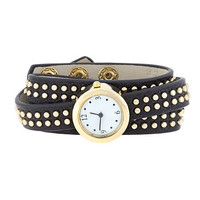 Black Mini Studded Wrap Watch