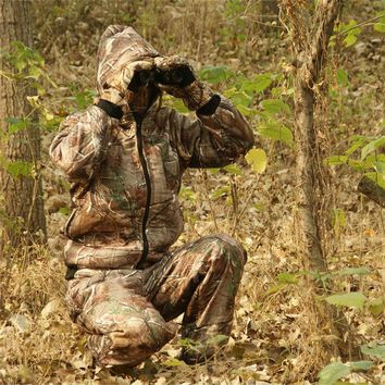 Winter Outdoor Warm Fleece Clothing real tree Bionic Camouflage Hooded Hunting Ghillie Suit Jacket Pants and hat gloves