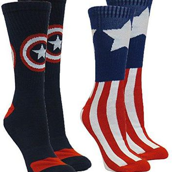 Marvel Captain America Men's Athletic Crew Socks 2-Pair Pack