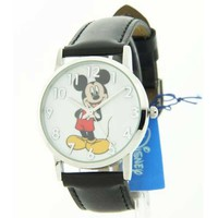 Disney MCK836 Women's Mickey Mouse Black Leather Strap White Dial Watch
