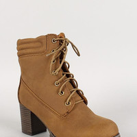 Lace Up Chunky Heel Lug Sole Work Bootie Color: Brown, Size: 7