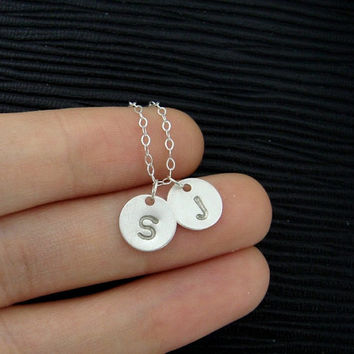 TWO Initials Necklace, Two Monograms Necklace, STERLING Silver disc charm necklace, Simple daily jewelry, Couple, Mother's necklace