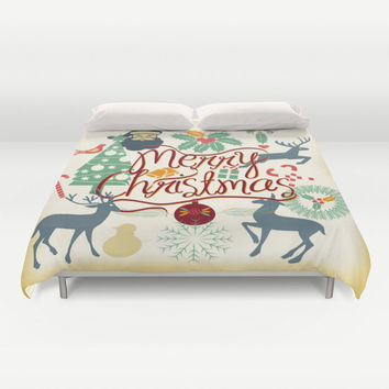 Christmas Duvet Cover, Merry Christmas bedding, Christmas bedding, Xmas duvet cover, Bedding, Home Interior Decoration