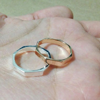Gold Octagon ring. Thick ring. Gold ring. cool ring. stacking gift. everyday ring. gift for girl.