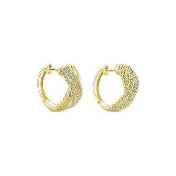 14K Yellow Gold Pave Diamond Crossover Huggie Earrings