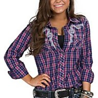 Ariat Women's Purple Plaid Fancy Western Shirt