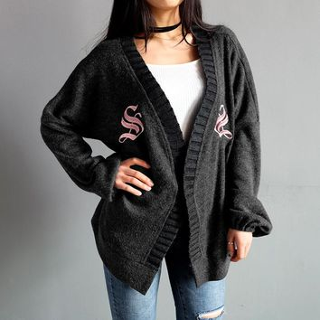 Knit Tops Hot Sale Winter Women's Fashion Embroidery Sweater [212045463578]